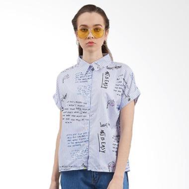 KULO Magazine Shirt Atasan Wanita - Biru