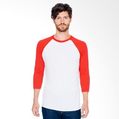 DEcTionS Kaos Distro Polos Oblong L ... -Shirt Pria - Putih Merah