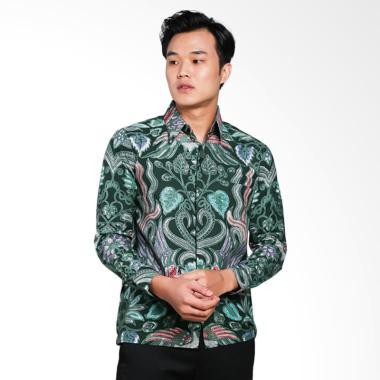 AWANA Lung Sawutan Modern Slim Fit Kemeja Batik Pria - Hijau
