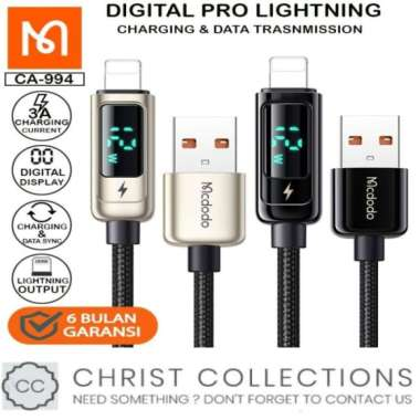 Unik MCDODO KABEL DATA USB TO IPHONE FAST CHARGING 3A 12W LED DISPLAY 12M - Abu-abu Diskon
