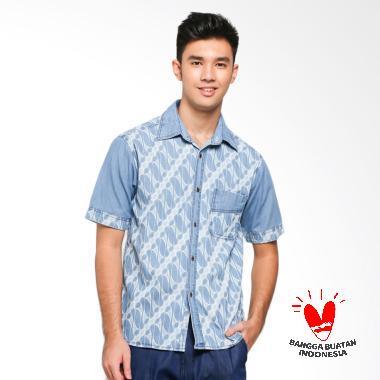 Batik Etnik Denim Shirt Motif Parang Kemeja Batik Pria