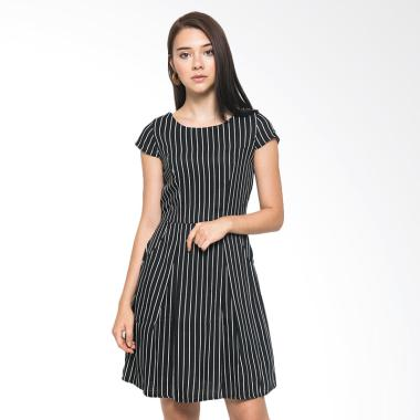 Sophistix Cap Sleeved Black with White Stripes Mini Dress