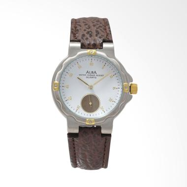Alba Leather Strap Jam Tangan Pria - Brown Silver White [ATE10A]