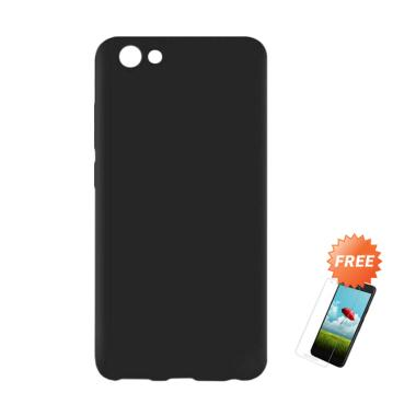 OEM Slim Softcase Casing for Vivo Y81 6.22 Inch - Hitam Solid + Free Tempered Glass