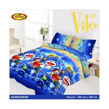 Vito Disperse Rumbai Doraemon Set Sprei dan Bedcover [King Size/ 180 x 200 cm]