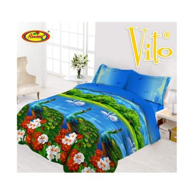 Vito Disperse Peacock Rumbai Set Sprei & Bed Cover [King Size/ 180x200 ...