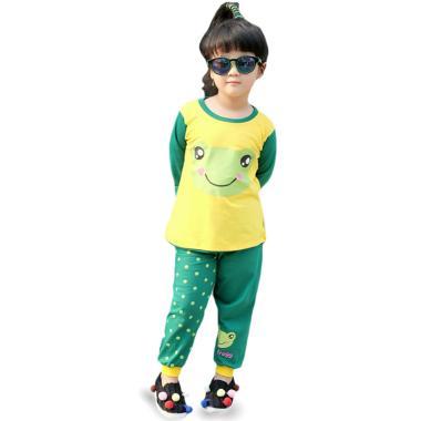 Dessan Face Animal Frog Piyama Setelan Baju Tidur Anak Perempuan