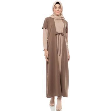 Mybamus M10634F Two Tone Elula Dress Muslim Wanita - Mocca