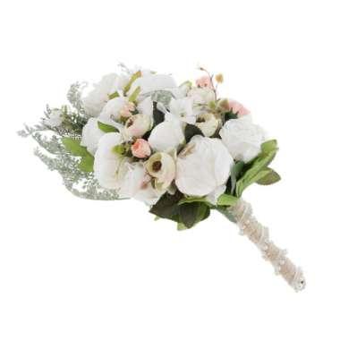 harga Artificial Bridal Silk Bouquet Wedding Hand Flowers Home Decor 50x30x14cm Classic White - Blibli.com