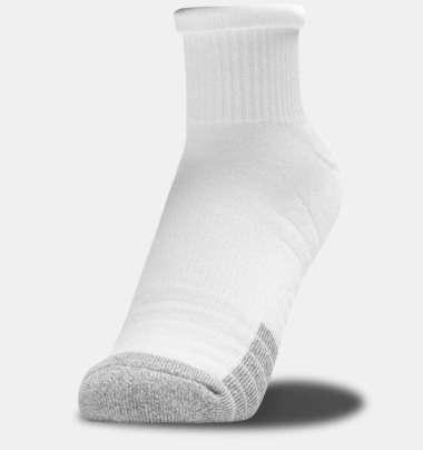 Under Armour Men's HeatGear® Qrter Socks 3-Pack - White - White - Steel L