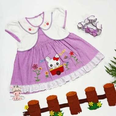 harga Cleine Tadita - Baby Girls Baju Bayi Set Rok Bandana Kereta Kelinci 3-9 bulan Purple Blibli.com