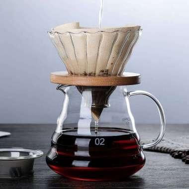 harga V60 Glass Dripper with Wooden Bracket 2-4 cups Blibli.com