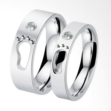 CDHJewelry CC030 Cincin Couple Titanium Anti Karat (Female 7 & Male 7)