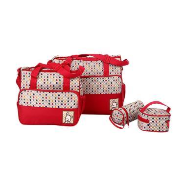 28fashion Polkadot Travelling 5In1  ... Diaper Bag Tas Bayi - Red
