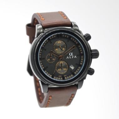 Alfa Leather Strap Jam Tangan Pria  ...  Hitam Plat Hitam 33016MB