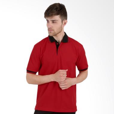 Elfs Shop Lacost Neck Hitam Poloshirt - Merah Cabe