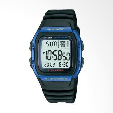Casio Digital Strap Resin Jam Tangan pria - Black W-96H-2AV