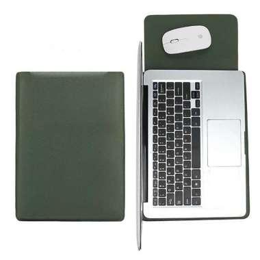 harga Tas Laptop Softcase Macbook Sleeve Slim PU Leather 14 inch Hijau Blibli.com