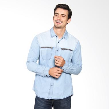 Lois Men Shirt Denim Kemeja Pria - Blue KL 721 D
