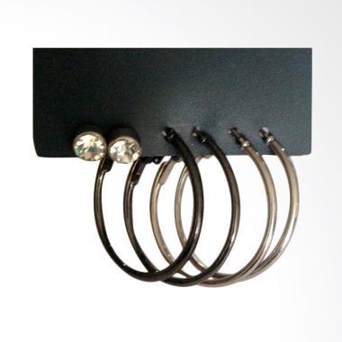 Mastindo Accessories MA-145066 Earring - Silver Black