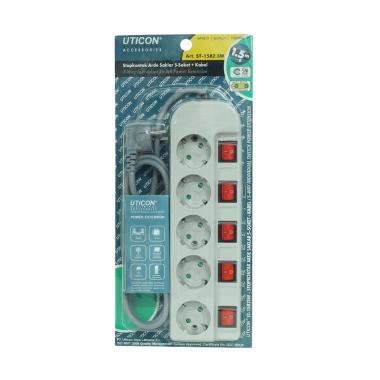 Uticon ST-1582SW Stop Kontak - Abu Abu [1.5 M/ 5 port]