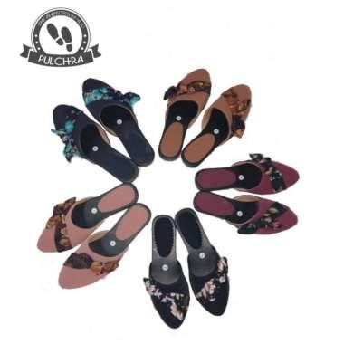 harga Sandal selop wanita ST400 kain bunga wedges heels cewek kantor - Blibli.com