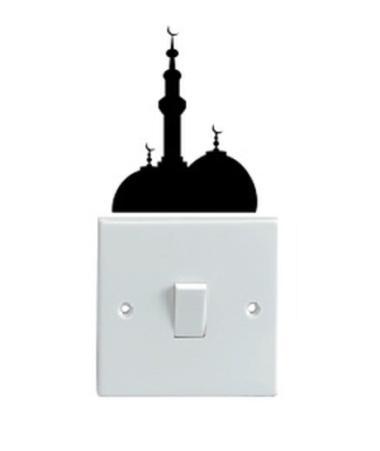 OEM Motif Masjid Dekorasi Tombol Lampu Saklar Wall Sticker - Hitam