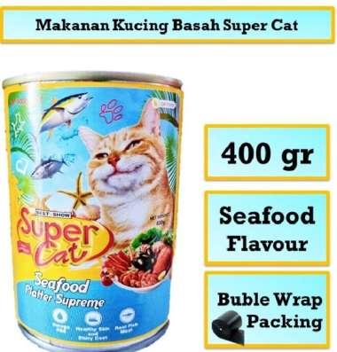 harga Makanan Kucing Basah Kaleng SUPERCAT Seafood 400 Gr Blibli.com