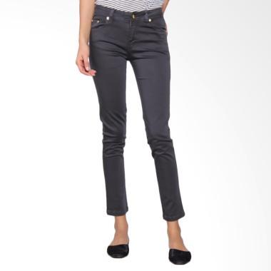 Bronco 2224 Slim Fit Chinos Celana Wanita - Charcoal Grey