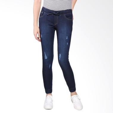 Bronco 5003 Ripped Jogger Soft Jeans Celana Wanita - Blue