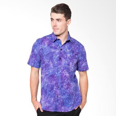 Arthesian Batik Batox Cap Kemeja Atasan Pria - Purple