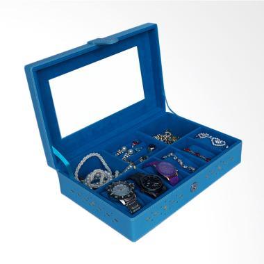 Bakul Etnik Kotak Jam dan Perhiasan BK01 - Biru Muda