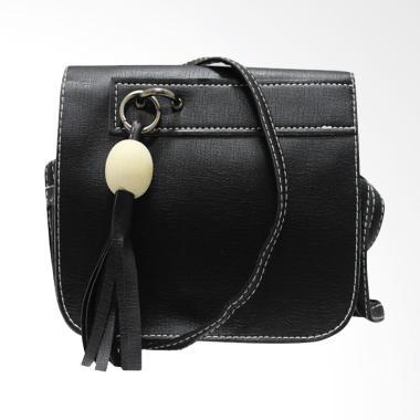 Shine Accessories TU1464 Tas Kulit Tassel Polos Tas Wanita - Black