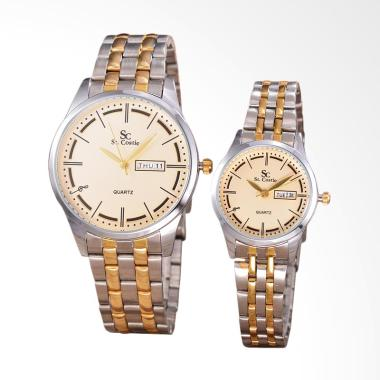 Saint Costie Stainless Steel Band Body Silver Gold Gold Dial Jam Tangan Couple - SC-