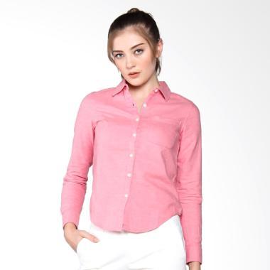 Giordano Roll up Sleeve Oxford Shirt Atasan Wanita - Pink