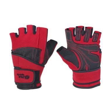 Zuna Sport Men Wristwrap Fitness Gloves - Merah