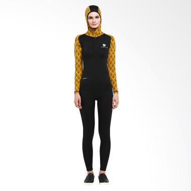 Tiento Wetsuit Hoodie Snorkling Div ... lim Wanita - Black Yellow