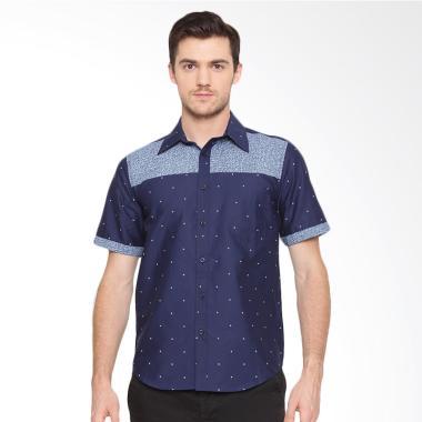 A&D Fashion Mens Shirt Short Sleeve Kemeja Pria - Blue [Ms 887]