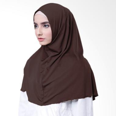 Najwa Hijab Kaos Katun TC Premium Jilbab Instan - Coklat Tua