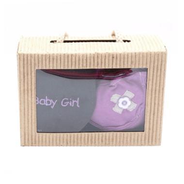 Cribcot Booties Rib Dark Purple Lig ... rey Light Purple Gift Set