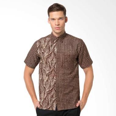 Batik Aksen Tropis Hem Pendek Doby Kombinasi Kemeja Pria - Brown