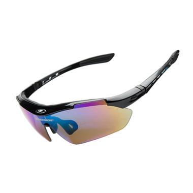 ROBESBON Kacamata Sepeda dengan 5 Lensa Myopia - Black