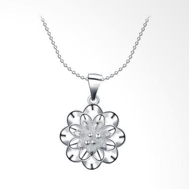 SOXY LKNSPCN623 New Fashion Flower Style Zircon Necklace - Silver