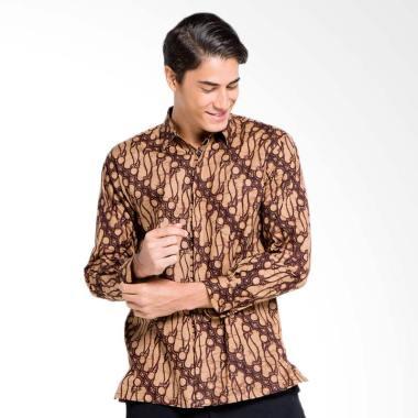 Batik Aksen Tropis Remek Parang Gemuk Kemeja Pria - Coklat