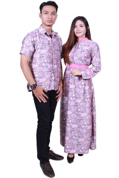 Batik Putri Ayu Solo SRG502 Batik Sarimbit Gamis Baju Batik - Pink