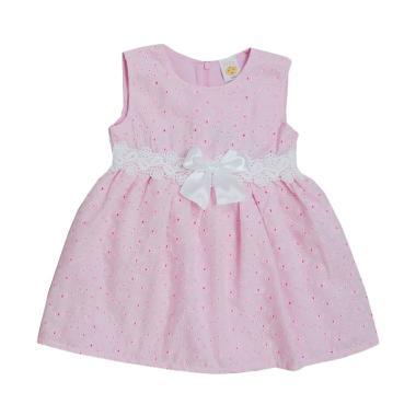 Pleu Brokat Renda Pinggang Dress Anak Pink