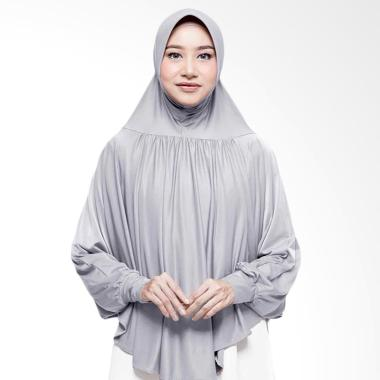 Cotton Bee Malika Shirt Khimar Jilbab Instan - Light Grey