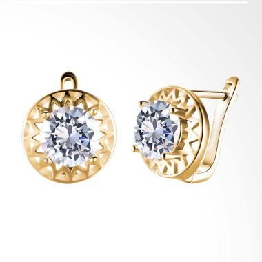 SOXY KZCE120-E K Zircon Round Diamond Romantic Earrings - Gold