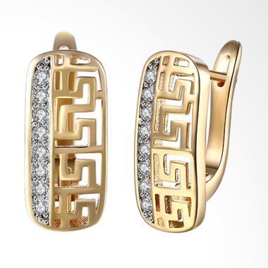 SOXY KZCE098-E K Zircon Geometric Z ... mond Stud Earrings - Gold