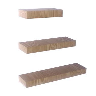 DEcTionS Floating Shelves Set Rak Dinding - Light Natural [3 pcs]